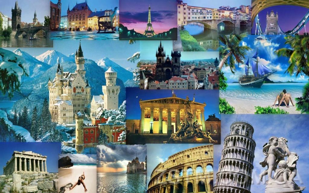 Коллаж из фотографий стран