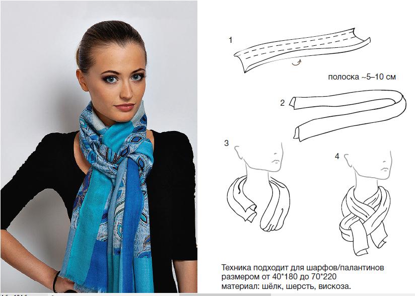 Как завязывать палантины шарфы платки фото схемы