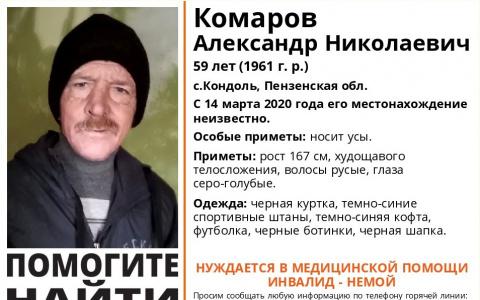 В Пензенской области пропал 59-летний Комаров Александр