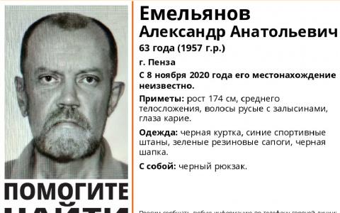 Пензенцев просят помочь в поиске 63-летнего мужчины