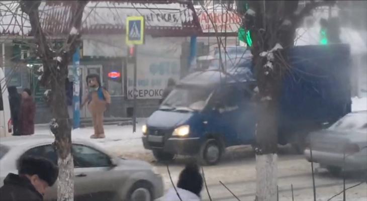 В Пензе гигантский еж переводит бабушек через дорогу