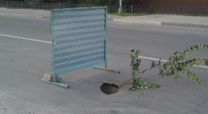 В Пензе на проезжей части улицы Дружбы провалился асфальт