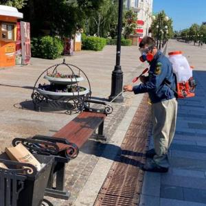 В Пензе обрабатывают остановки и скамьи из-за роста заболеваемости